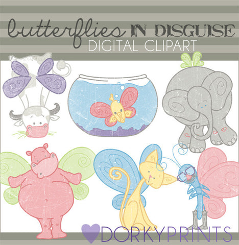 Butterflies in Disguise Clip Art