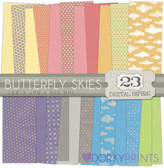 Butterfly Clouds Digital Paper Pack