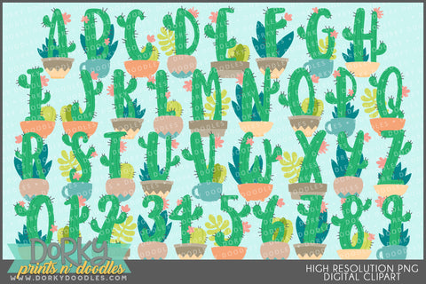Cactus and Succulent Font and Symbols Clipart