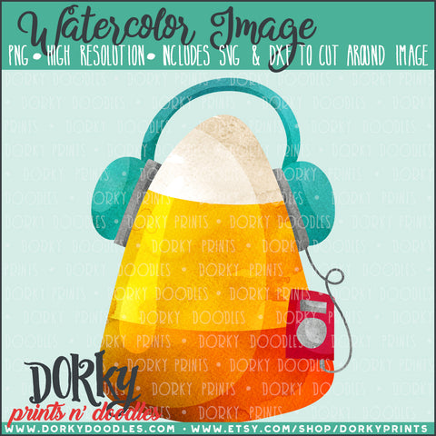 Candy Corn with Headphones Watercolor PNG