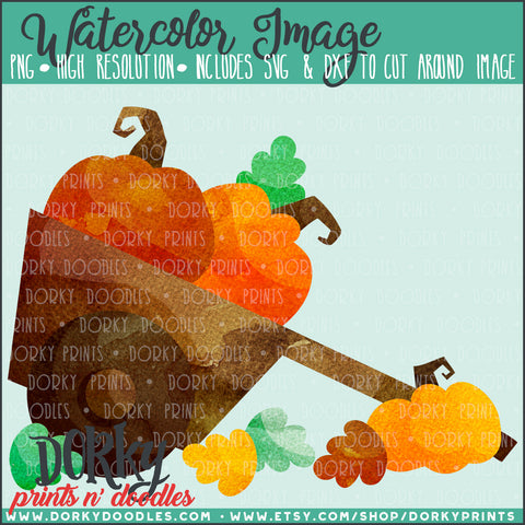 Cart of Pumpkins Watercolor PNG