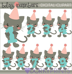 Cat Numbers Birthday Clipart