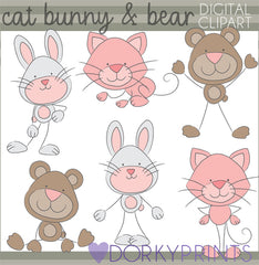 Cat Bear and Bunny Stick Animals Clipart