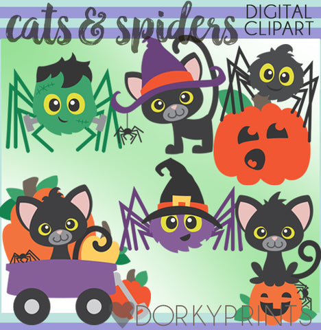 Cats and Spiders Halloween Clipart