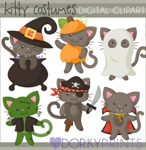 Cats in Costume Halloween Clipart