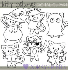 Cats in Costume Black Line Halloween Clipart