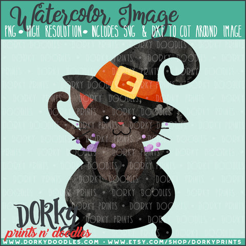 Cauldron Witch Cat Watercolor PNG