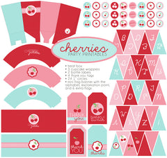 Pink and Red Cherries Birthday Party Printables