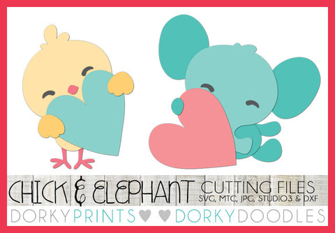 Chick and Elephant Valentine SVG Cuttable Files