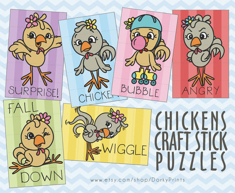 Chickens Craft Stick Puzzles Learning Printables