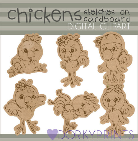 Chicken Sketches Clip Art