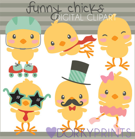 Funny Easter Chicks Spring Clipart