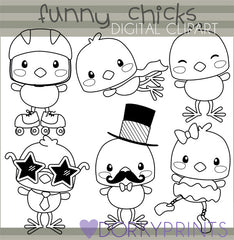 Funny Chicks Black Line Spring Clipart
