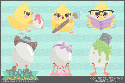 Chicks and Eggs Spring Clipart