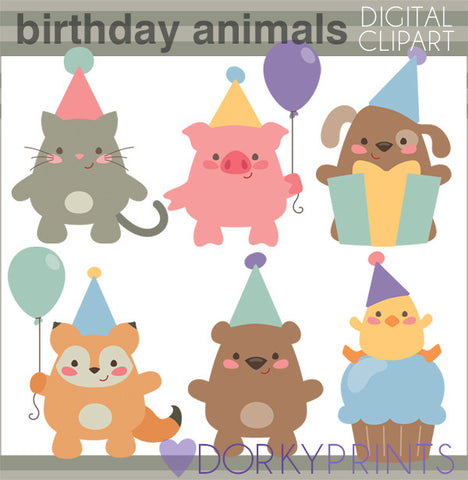 Chubby Animals Birthday Clipart