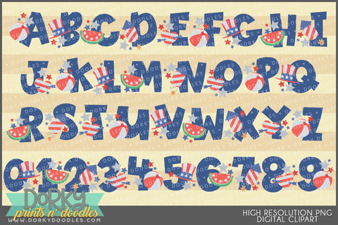Chunky Patriotic Font and Symbols Clipart