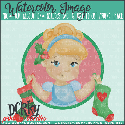 Cinderella Christmas Watercolor PNG