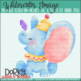 Circus Elephant Watercolor PNG