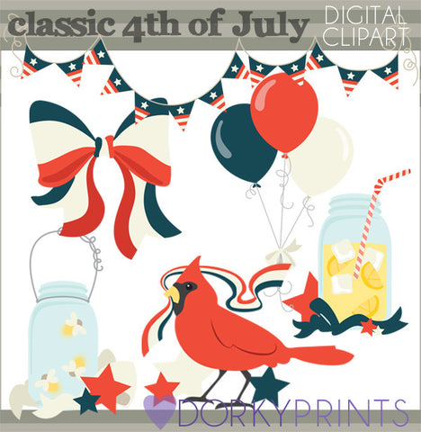 Vintage 4th of July Summer Clipart