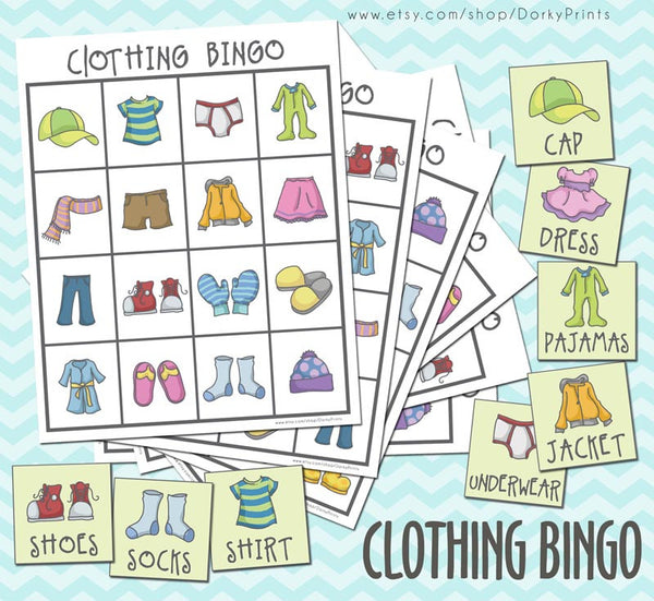 Clothing Bingo Game Learning Printables