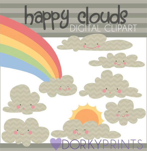Chevron Kawaii Cloud Clipart