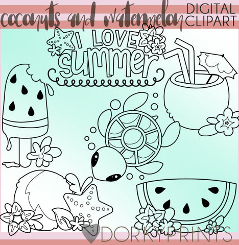Coconut and Watermelon Blackline Summer Clipart