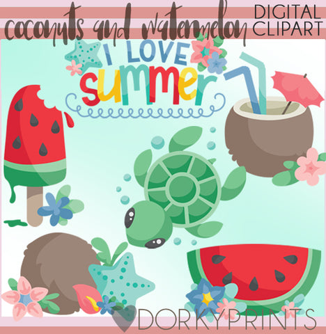 Coconut and Watermelon Summer Clipart