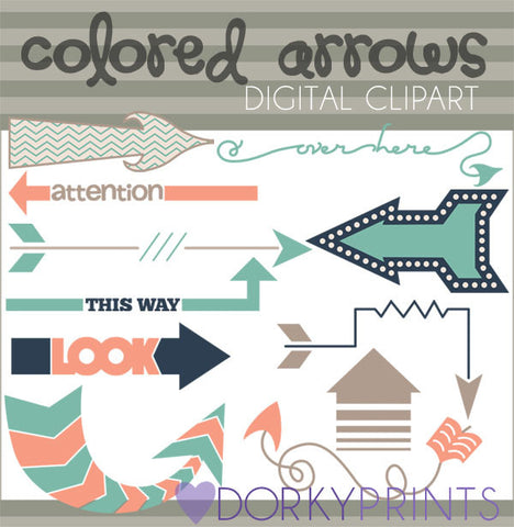 Colored Arrows Digital Clip Art