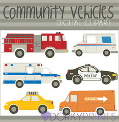 Emergency and Community Vehicles Fun Clipart