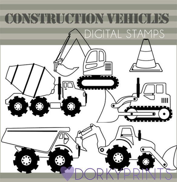 Construction Vehicles Blackline Clipart