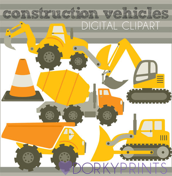 Orange Construction Vehicles Fun Clipart