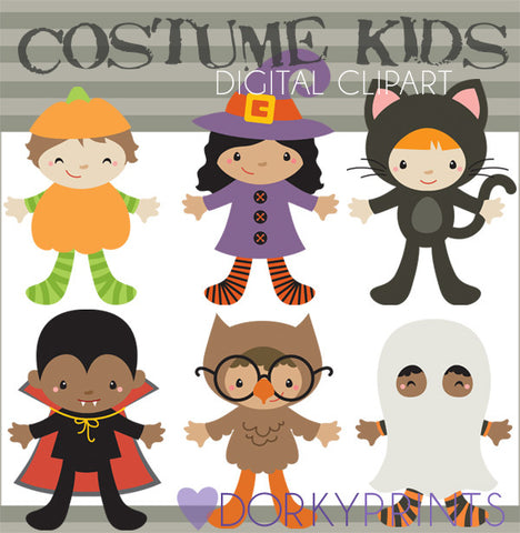 Kids in Costume Halloween Clipart