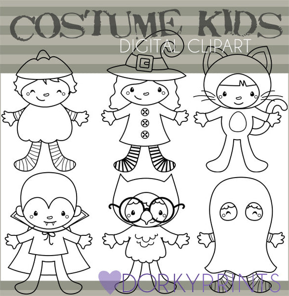 Kids in Costume Black Line Halloween Clipart