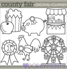 County Fair Black Line Summer Clipart