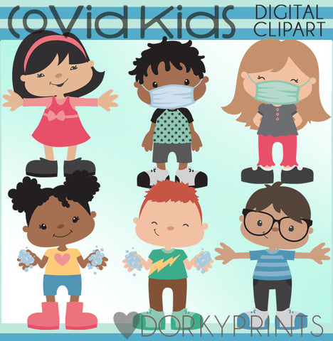 Covid Kids - School Clipart