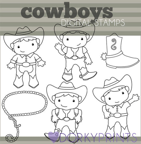 Cowboys Blackline Kid Clipart
