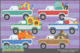 Vintage Trucks with Fall and School Clipart