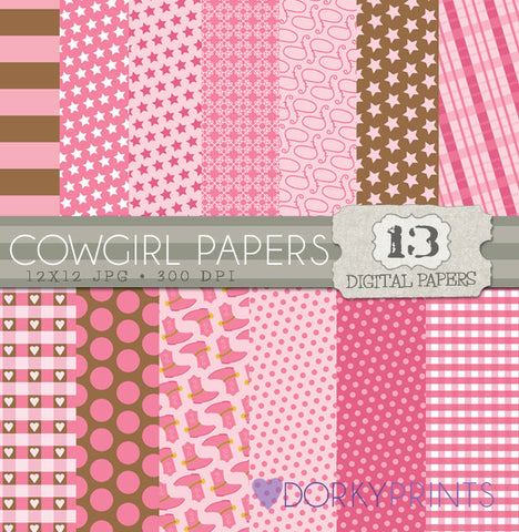 Cowgirl Digital Paper Pack