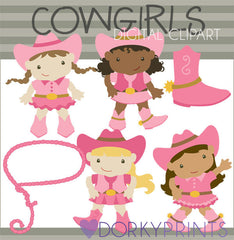 Pink Cowgirl Kid Clipart