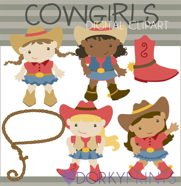 Red and Blue Cowgirl Kid Clipart