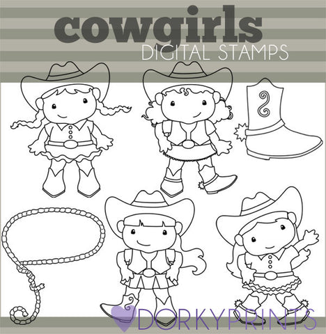 Cowgirls Blackline Kid Clipart