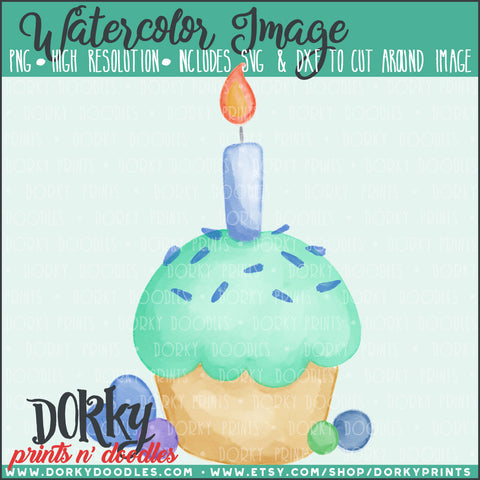 Blue Birthday Cupcake Watercolor PNG