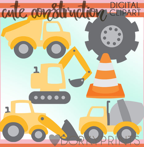 Cute Construction Vehicles Clipart