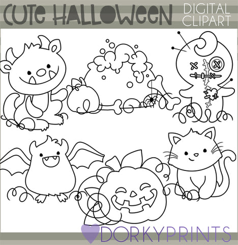 Cute Blackline Halloween Clipart