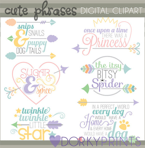 Cute Phrases and Arrow Titles Fun Clipart