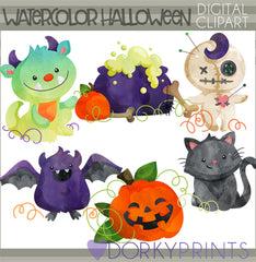 Cute Watercolor Halloween Clipart