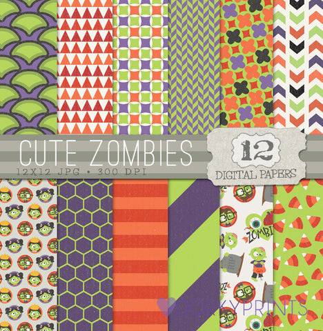 Cute Zombies Digital Paper Pack