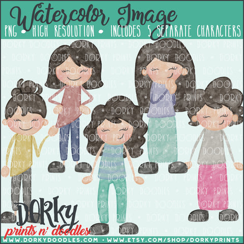 Family Character Watercolor PNG Alternate Women