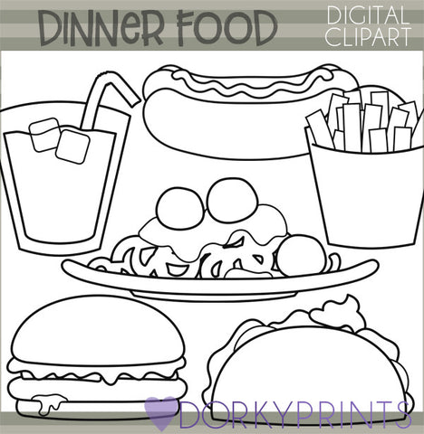 Cute Blackline Dinner Food Clipart