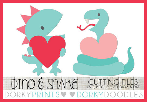 Dinosaur and Snake with Hearts Valentine SVG Cuttable Files